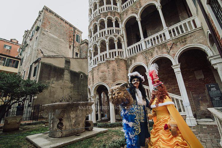Venetian Carnival Portraits and Scala Contarini Del Bovolo